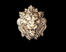 Ox Brass Lion Head Face Large Stamping Perfect for Steampunk Art 52mm x 44mm Made in the USA Brass