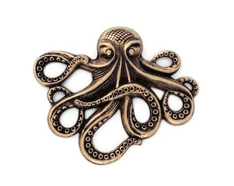 Ox Brass Octopus Kraken Cthulhu Stamping from Vintage Tooling Perfect for Steampunk Art Made in the USA Brass