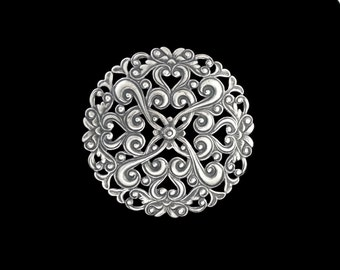 Large Round Filigree Silver Plated Brass Disc Circle Stamping Huge 75mm Qty 1 One Made in the USA
