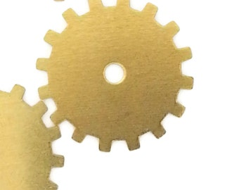 Steampunk Cog Gears Brass 24 Gauge Assemblage Altered Art Lot 19mm- Qty 4 Made in the USA
