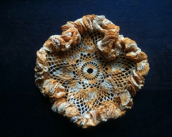 Vintage English Orange Doily Coaster Table protector circa 1960-70's / English Shop