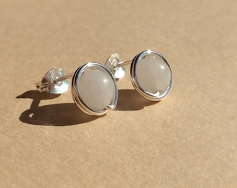 White Snow Quartz gemstone post earrings - handmade 9mm Serling silver stud earrings - Healing stone - Free shipping to CANADA and USA