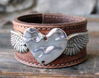 Angel Wing Leather Cuff - Recycled Upcycled Leather Bohemian Rocker Chic Jewelry, Silver Heart and Wings