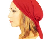 Tichel Basics, Hair Snood, Head Scarf, Pre Tied Bandana, Chemo Hat, Snood, Head Scarf: Ruby Red Eyelet... see many more styles in shop - 016
