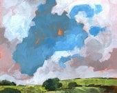 Original landscape painting square 8 x 8 inches - Autumn dawn