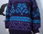 Chunky Knit Vintage Handknit Tribal Sweater - Blue Purple