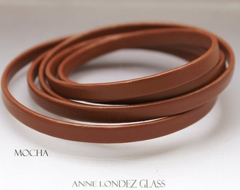 1 ft Flat recycled leather strap brown mocha 6x2.5mm coffe colored flat cord stringing supplies 6mm upcycled