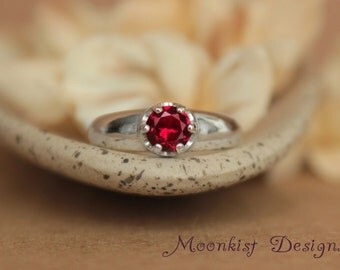 Deep Red Ruby in Bold Artisan Sterling Silver Solitaire Mounting - Ruby Engagement Ring, Ruby Promise Ring, or July Birthstone Ring