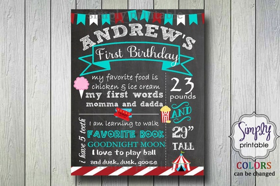 1st Birthday Chalkboard Sign Carnival Theme (Printable)