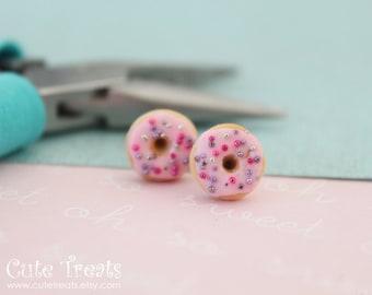 Food jewelry - Pink Doughnuts stud earrings hypoallergenic (Surgical Steel)