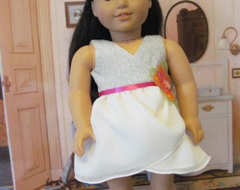 Doll  Dress, Party Dress, Wrap  Dress, Headband, 18 inch Doll Dress