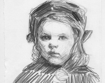 original drawing - Baby, It's Cold Outside - victorian, girl, beret hat, winter, art, portrait, drawing, pencil drawing, black and white