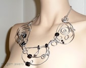 Necklace, wire wrapped, black, statement, big, huge, avant garde, hippie, boho, modernist, tribe, urban nomad