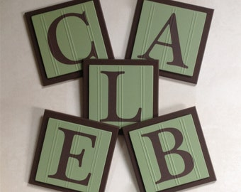 Green and Brown Baby Nursery, Name Wall Letters Room / Wall Decor, 6 x 6 Personalized Wooden Plaques, Custom Signs, Children's Gift Ideas