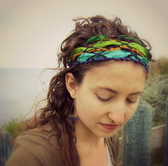 Sari.  Hippie Headband Bandana and Wrist Wrap Bracelet