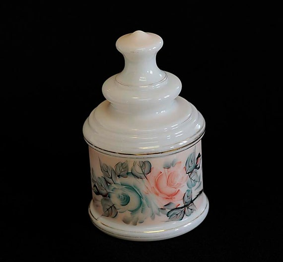 Vintage 1940's MILK GLASS Covered Canister Jar Hand Painted Green & Pink Roses