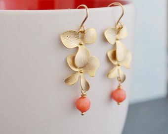 Gold Orchid Earrings, Peach-Pink Coral, 14K Gold Filled Hoops, Pink Coral Tropical Earrings, Gift Under 30