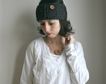 Chunky Knitted Headband Ear Warmer in Charcoal with Wooden Button /The Iceton