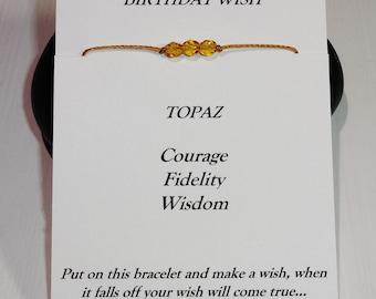 November Birthday Bracelet or Anklet - Swarovski Yellow Topaz (Citrine) Birthstone, BFF, Best Friend, Friendship Gift, Inspirational Present