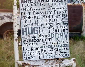 Family Rules Sign, Last Name Sign with Family Rules on Wood or Canvas, Personalized Family Name Sign Anniversary Gift House Rules Wood Sign