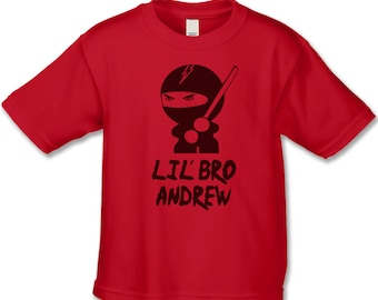 Personalized  Little Brother Shirt - Ninja  Lil' Bro T-Shirt  (BLACK Ink) Baby Announcement