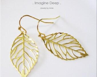 50% off SPECIAL - Dangle Leaf Earrings - Gold Plated Filigree Leaf Earrings