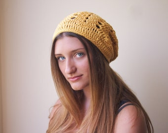 Woman chevron slouchy hat, woman  zig zag beanie, mustard slouchy  woman hat,  women hat