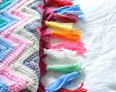 Pastel and Neon Multicolored Chevron Crocheted Blanket with Tassel Ends