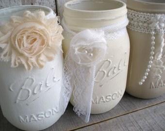 3 mason jars, Whites, Shabby Chic, Wedding, distressed, pint jar, Lace, Pearls, Cottage, Off white, Flower Vases