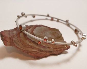 Orange Sapphire and Citrine Silver Bangle Bracelet