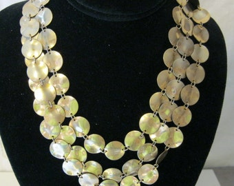 Avon Wavy Gold Disk Collar Necklace Holiday Perfect