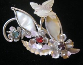 Vintage MOP Rhinestone Flower & Dove Pin