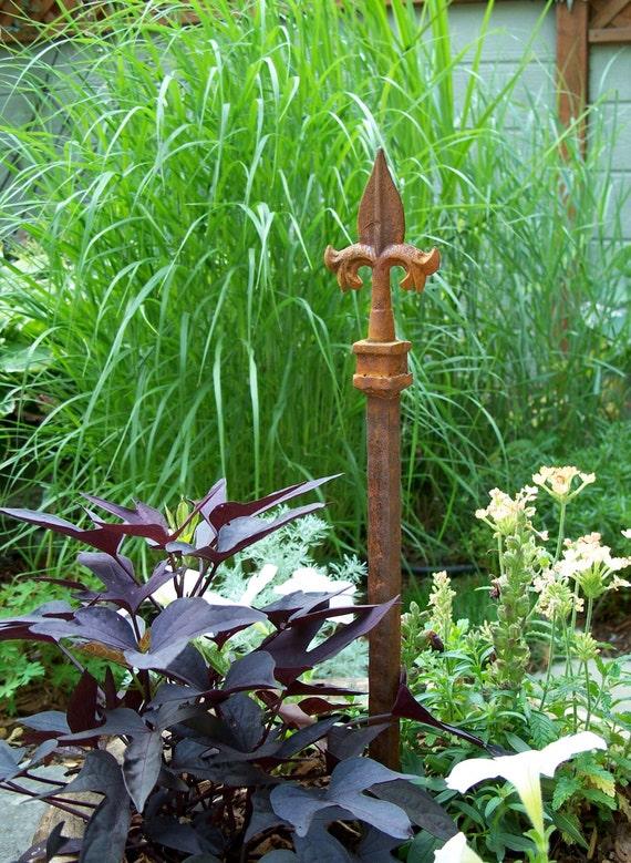 steel garden stake rusty garden decor unique hose guide