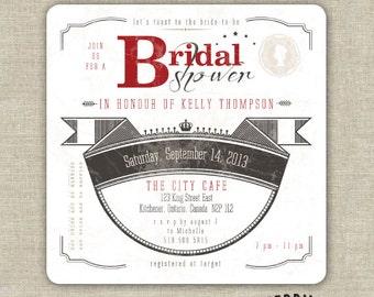 Vintage Inspired, Great Gatsby Drink Coaster Bridal Shower Invitations