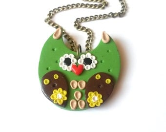 SALE! Green Owl Necklace ( polymer clay pendant fimo handmade antique bronze brown yellow gift for gir women