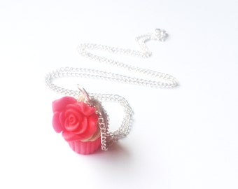 Rose Cupcake Necklace ( red cupcake necklace cupcake jewelry cupcake charm kawaii polymer clay chocolate cupcake food jewelry cute necklace)