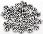 Spacer Beads : 100 pieces Antique Silver 5mm Daisy Spacer Beads | Silver Metal Spacer Bead Findings -- Lead, Nickel & Cadmium Free 900.J3B