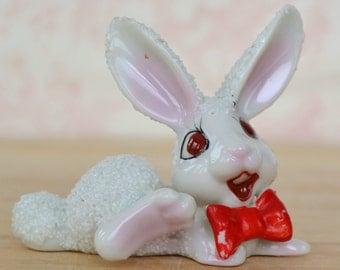 Vintage Rabbit Wearing a Bow Tie Figurine