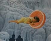 Surreal Art, Paper Collage, Collage on Paper, Retro Art, OoaK Art, Ice Blue Art, Waterfall Art