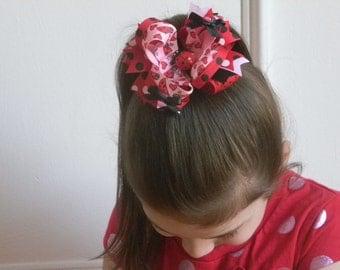 "Ladybug Hair Bow 4.5"" Red, Pink and Black Ladybug Print Ribbon Bow, Ribbon Spikes, Black Satin Mini Bows with Red Ladybug Center"