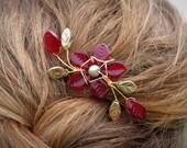 Autumn Red Flower Spray Hair Clip
