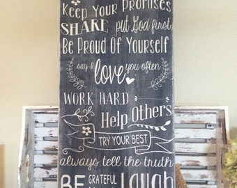 Family rules personalized - vintage style lettering - chalkboard syle 14x36