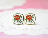 Rose Enamel Earrings - Red Rose on White - Shabby Chic - Surgical Steel Earrings - Vintage Cabochons - Floral Jewelry - Square Earrings