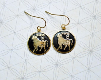 Taurus Earrings - Zodiac Jewelry - Vintage Enamel Charms - Astrology - Zodiac Earrings - Bull Earrings