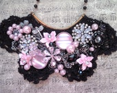 Collage bib necklace, Black, Pink, Black lace, Victorian, Shabby Chic, Steampunk, Vintage, Lace, Romantic, Neo Victorian