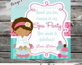 Set of 12 Personalized Favor Tags -Spa Party -Thank You Tag -Gift Tag -Baby Shower -Birthday-Sticker-Aqua Pink Green
