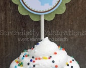 Set of 12 Personalized Cupcake Toppers -Elephant -Baby Shower, Birthday -Green Brown Blue Elephant -1st Birthday