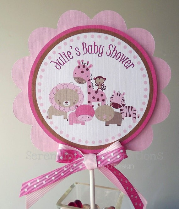 cake topper pink safari small centerpiece birthday baby shower