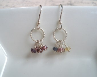Multi-Sapphire and Sterling Silver Earrings