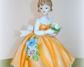 Old Fashioned Girl Figurine Country Western Farm Girl Vintage Orange Daytime Dress with Flounce Under Slip Petticoat Porcelain Constructiond